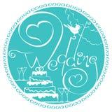 Счастливый текст литерности руки свадьбы Стоковые Изображения RF