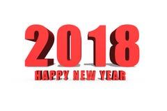 Счастливый текст на белой предпосылке, Нового Года 2018 текст 3D стоковые изображения rf