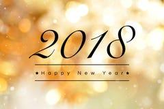 Счастливый текст Нового Года 2018 на золотой предпосылке bokeh стоковое фото rf