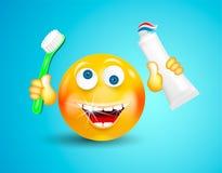 Счастливый усмехаться при белый сияющий смайлик зубов или круглая сторона держа зубную щетку и зубную пасту в своих руках на ярко иллюстрация вектора