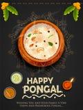 Счастливый фестиваль сбора праздника Pongal предпосылки приветствию Tamil Nadu южной Индии иллюстрация вектора
