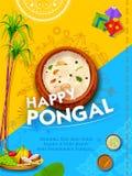 Счастливый фестиваль сбора праздника Pongal предпосылки приветствию Tamil Nadu южной Индии бесплатная иллюстрация