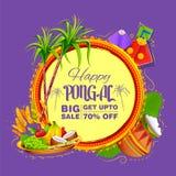 Счастливый фестиваль сбора праздника Pongal предпосылки продажи и рекламы Tamil Nadu южной Индии иллюстрация вектора