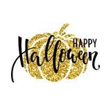 Счастливый хеллоуин с силуэтом тыквы золота Вручите вычерченную творческую каллиграфию и почистьте литерность щеткой ручки Дизайн бесплатная иллюстрация