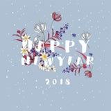 Счастливый цветок Newyear 2018 зацветая на розовой голубой предпосылке, бесплатная иллюстрация