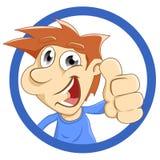 Счастливый человек с большими пальцами руки вверх иллюстрация вектора