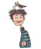 Счастливый человек с гнездом на его голове Стоковая Фотография RF