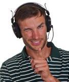 счастливый человек шлемофона Стоковое фото RF