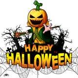 Счастливый шаблон дизайна хеллоуина с персонажем из мультфильма тыквы на белизне изолировал предпосылку бесплатная иллюстрация