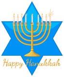 Счастливый шаблон карточки Хануки с голубой звездой и светами бесплатная иллюстрация