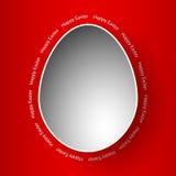 Счастливый шаблон красного цвета поздравительной открытки пасхи Стоковое фото RF