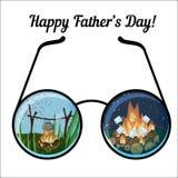 Счастливый шаблон поздравительной открытки дня отца с стеклами и все время располагаясь лагерем ландшафтами Стоковая Фотография
