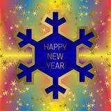 Счастливый шаблон поздравительной открытки Нового Года на красочной смешанной предпосылке с блестящими звездами и рамкой снежинки Стоковое Фото