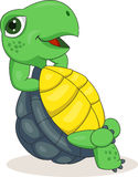 Счастливый шарж черепахи ослабляя Стоковая Фотография