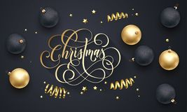 Счастливый шрифт вышивки Нового Года и связанные украшения для поздравительной открытки праздника конструируют Текст каллиграфии  Стоковое Изображение