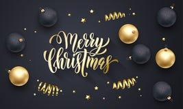 Счастливый шрифт вышивки Нового Года и связанные украшения для поздравительной открытки праздника конструируют Текст каллиграфии  Стоковое фото RF