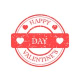 Счастливый штемпель вектора дня валентинок изолированный на светлой предпосылке Стоковая Фотография RF