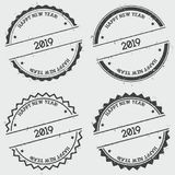 Счастливый штемпель insignia Нового Года 2019 изолированный дальше бесплатная иллюстрация