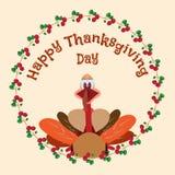 Счастливый элемент дизайна официальный праздник в США в память первых колонистов Массачусетса с индюком и клюквами шаржа Стоковые Фото