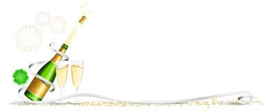 Счастливый confetti клевера фейерверков шампанского Нового Года изолировал знамя вектора бесплатная иллюстрация