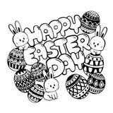 Счастливый Doodle дня пасхи День пасхи с милым зайчиком и яйцами стоковые фотографии rf