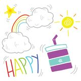 Счастливый Doodle утра стоковое фото
