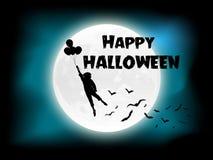 Счастливый halloweern день летучие мыши луны клоуна хеллоуина также вектор иллюстрации притяжки corel 10 eps Стоковая Фотография RF