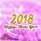 Счастливый Watercolor/2018 Нового Года Стоковые Изображения