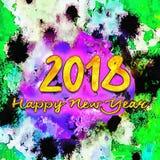 Счастливый Watercolor/2018 Нового Года Стоковое Изображение RF