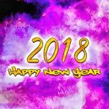 Счастливый Watercolor/2018 Нового Года Стоковые Фотографии RF