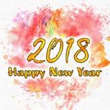 Счастливый Watercolor/2018 Нового Года Стоковое Изображение