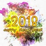 Счастливый Watercolor/2018 Нового Года Стоковое фото RF