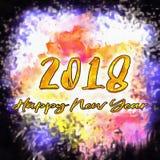 Счастливый Watercolor/2018 Нового Года Стоковая Фотография RF