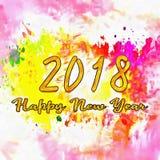 Счастливый Watercolor/2018 Нового Года Стоковые Фото