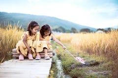 2 счастливых азиатских девушки маленьких ребенка имея потеху, который нужно сыграть совместно Стоковые Изображения