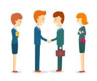 2 счастливых бизнесмена тряся руку для подписания согласования Иллюстрация вектора