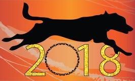 2018 счастливых год рамки вензеля Нового Года инициалов логотипа вензеля письма вензеля вектора вензеля clipart собаки чешет рожд Стоковые Изображения RF