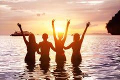 4 счастливых друз встречая пляж моря захода солнца стоковая фотография rf