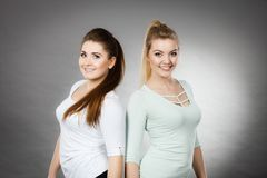 2 счастливых друз женщин имея потеху Стоковое фото RF