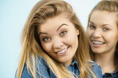 2 счастливых друз женщин имея потеху Стоковые Фото