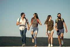 4 счастливых друз на горах и потехе иметь совместно Стоковые Фотографии RF