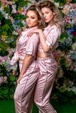 2 счастливых красивых блондинкы в сексуальных striped пижамах и пятках на предпосылке цветка Они стоят за одином другого и выгляд стоковое фото