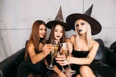 2 счастливых молодой женщины в черных костюмах хеллоуина ведьмы на партии Стоковые Фото