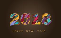 2018 счастливых Новых Годов, абстрактный дизайн 3d, иллюстрация вектора Стоковые Фотографии RF