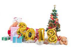 2018 счастливых Новых Годов и концепция рождества с giftes, настоящие моменты, Стоковая Фотография RF