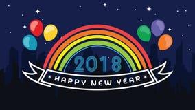 2018 счастливых Новых Годов Потеха 2018 также вектор иллюстрации притяжки corel знамена плакат Стоковые Изображения
