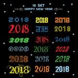 2018 счастливых Новых Годов Потеха 2018 также вектор иллюстрации притяжки corel знамена плакат Стоковая Фотография RF