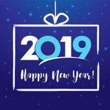2019 счастливых Новых Годов, присутствующая поздравительная открытка бесплатная иллюстрация