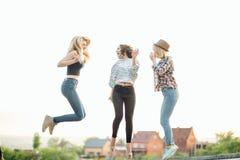 3 счастливых радостных молодой женщины скача и смеясь над совместно на парке Стоковая Фотография RF