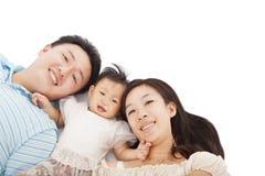 Счастливая азиатская семья совместно Стоковое фото RF